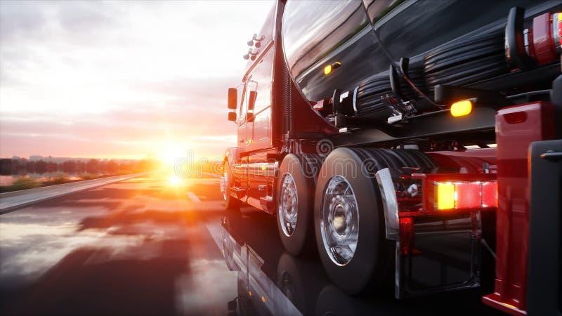 Gasoline tanker, Oil trailer, truck on highway. Very fast driving. 3d rendering. stock illustration