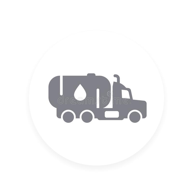 Gasoline tanker, truck with petroleum vector icon royalty free illustration