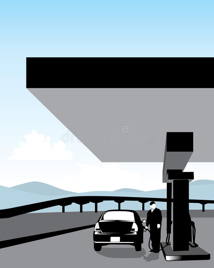 Gasolinera stock de ilustración
