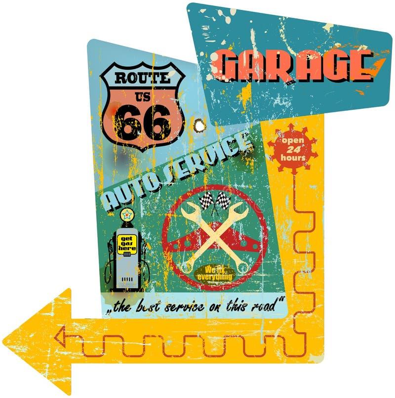 Gasolinera de Route 66 ilustración del vector