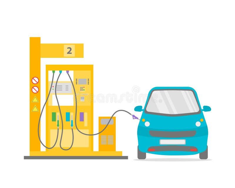 Gasolinera plana Vector stock de ilustración