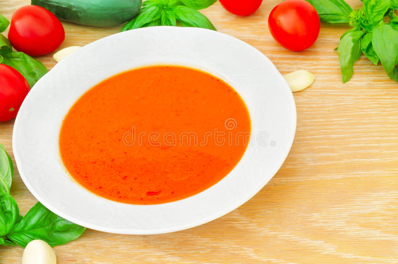 Gaspacho on wooden background. Gaspacho on the wooden background stock photos