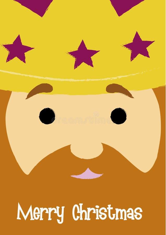 GASPAR. Christmas greeting with Gaspar King's face close-up stock illustration