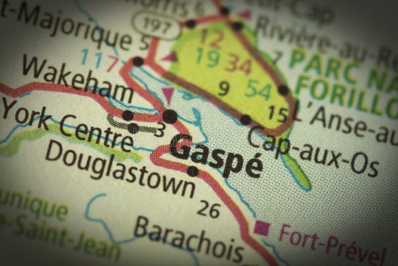 Gaspe, Quebec sulla mappa fotografie stock libere da diritti