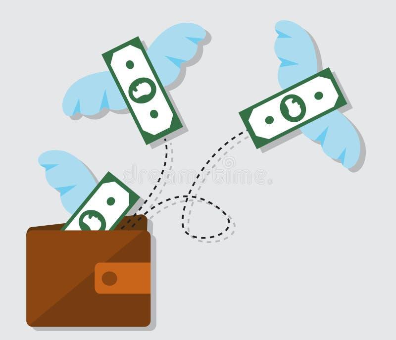 Gaspillage d'argent et distribution de dette illustration de vecteur