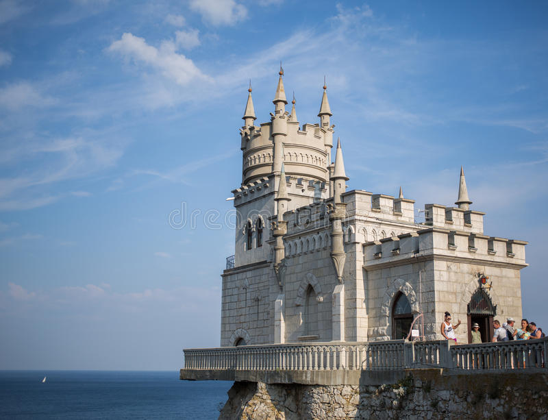 Gaspra, Crimea, Russia - September 2016: The decorative Neo-Gothic castle Swallow`s Nest royalty free stock photos