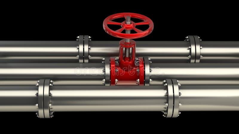 Gasrohr mit einem roten Ventil vektor abbildung