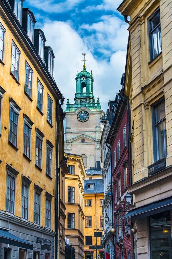 Gasse Stockholms Schweden stockfotos