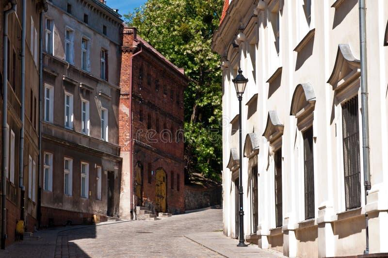 Gasse von Spichrze in Grudziadz Polen lizenzfreie stockbilder