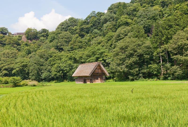 Gassho样式谷仓在Ogimachi村庄,日本 免版税库存照片