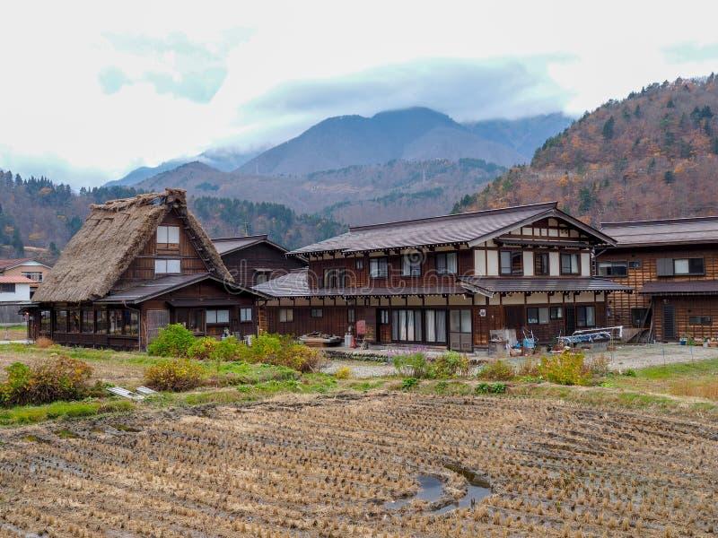 Gassho-Zukuri stylu dom wewnątrz iść, Gifu prefektura, Japonia zdjęcie stock