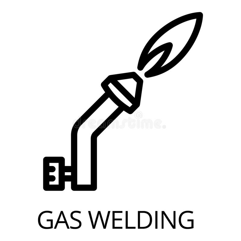 Gassvetsningsymbol, översiktsstil stock illustrationer