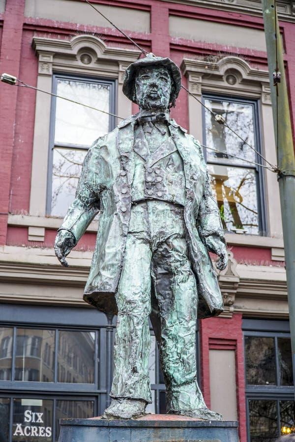 Gassy статуя Джека - основатель Gastown Ванкувера - ВАНКУВЕРА - КАНАДЫ - 12-ое апреля 2017 стоковое фото