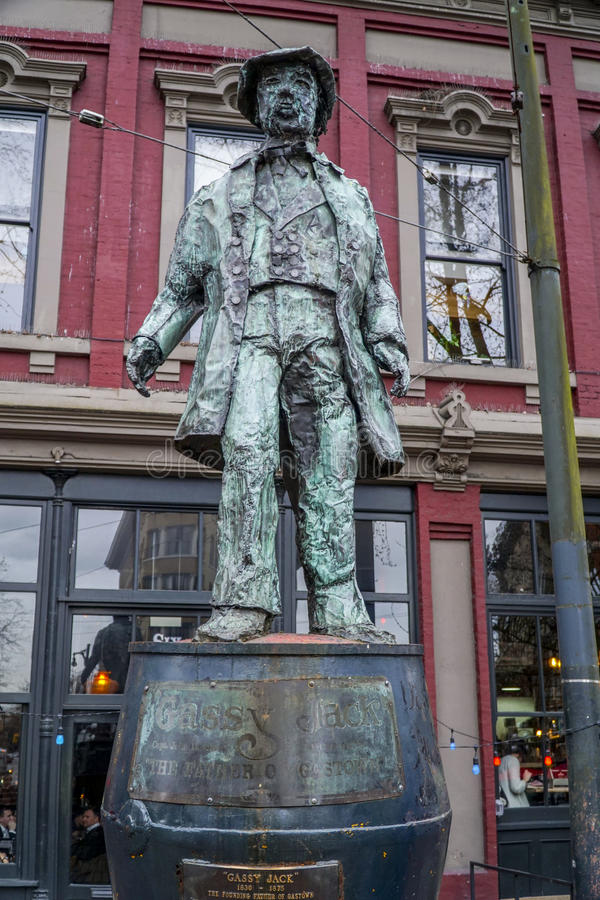 Gassy Jack statue - founder of Gastown Vancouver - VANCOUVER - CANADA - APRIL 12, 2017. Gassy Jack statue - founder of Gastown Vancouver - CANADA stock images