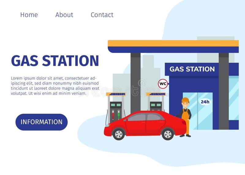 GasTankstelle-Vektorwebsiteschablone Transportbrennstoff und -benzin bezogen sich Service-Gebäude, rotes Auto und Karikatur stock abbildung