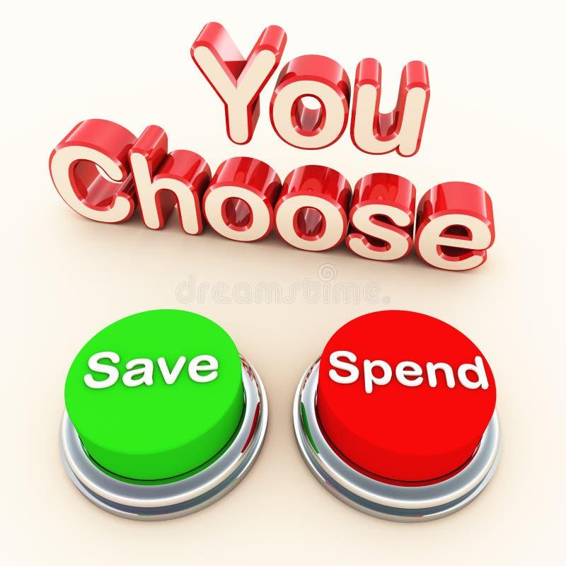 Gaste ou conserve a escolha ilustração royalty free