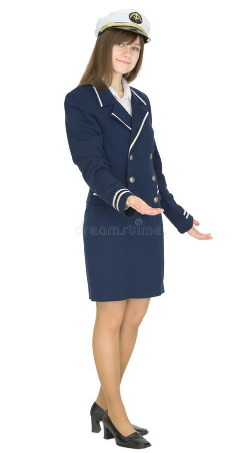 Gastfreundliche Frau in der Seemannklage getrennt auf Weiß stockfotos