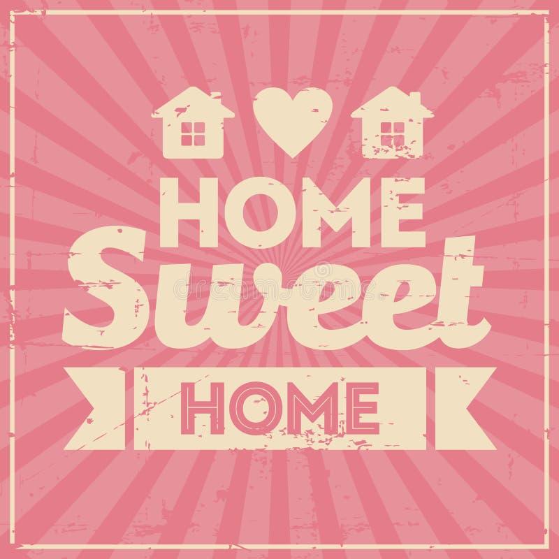 Gasto retro do vintage home doce home do Signage ilustração stock