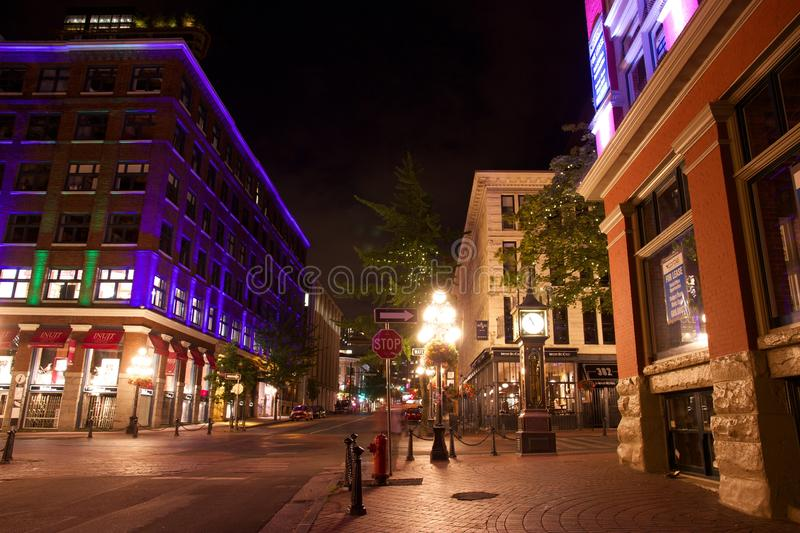Gastown at night, Vancouver, British Columbia, Canada. A shot of one of the most famous intersections in Vancouver, the corner of Water Street and Cambie Street stock photo