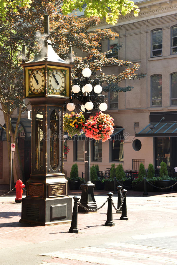 Gastown's celebrated steam clock in Vancouver. The steam clock is a major attraction for tourists visiting Gastown. Driven by steam, the clockis a curiosity stock photos