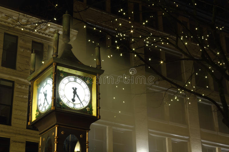 Gastown Steam Clock Night, Vancouver. The steam clock at night, in downtown Vancouver's historic Gastown district. A popular tourist attraction. British Columbia royalty free stock image