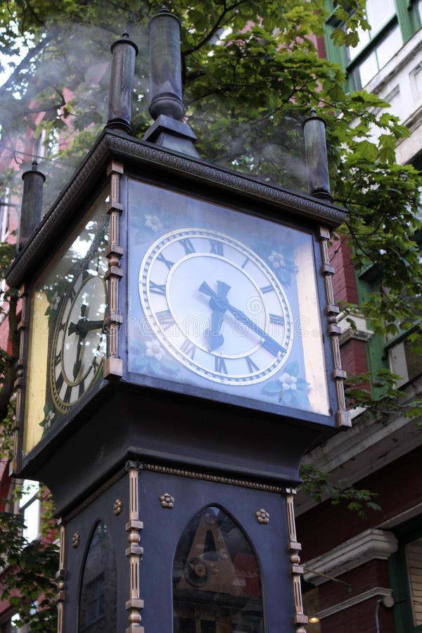 Gastown Steam Clock. Steam powered Clock in Gastown. Vancouver. Its the first of these clocks in the World royalty free stock photo