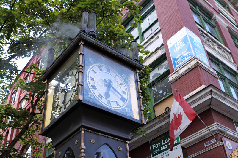 Gastown Steam Clock. Steam powered Clock in Gastown. Vancouver. Its the first of these clocks in the World royalty free stock image