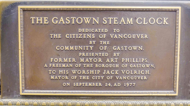 Gastown Steam Clock sign in Vancouver - VANCOUVER - CANADA - APRIL 12, 2017. Gastown Steam Clock sign in Vancouver stock photo