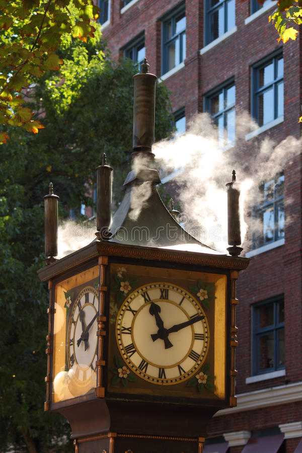 Gastown Steam Clock, Vancouver. This steam clock, in downtown Vancouver's historic Gastown district, is a popular tourist attraction. British Columbia, Canada royalty free stock photos