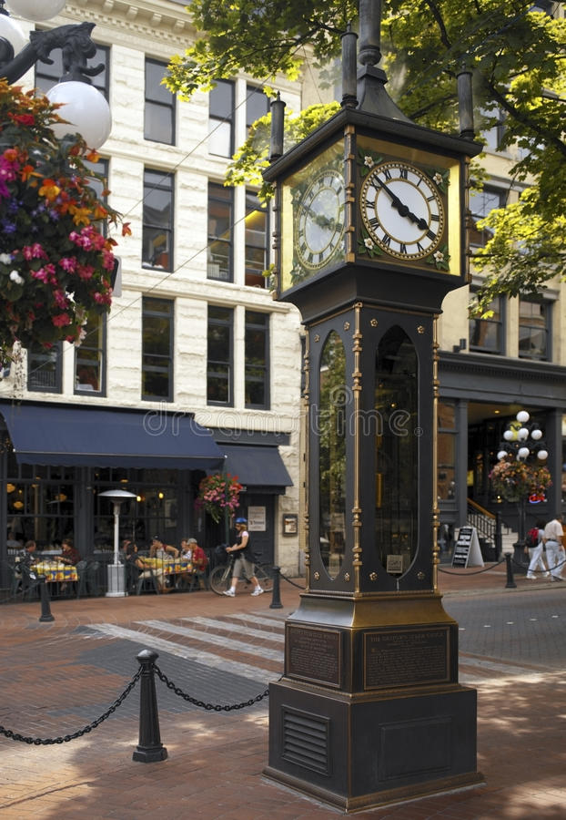 Gastown Steam Clock - Vancouver - Canada. The Steam Powered Clock in the historic Gastown area of the city of Vancouver in British Columbia in western Canada stock image