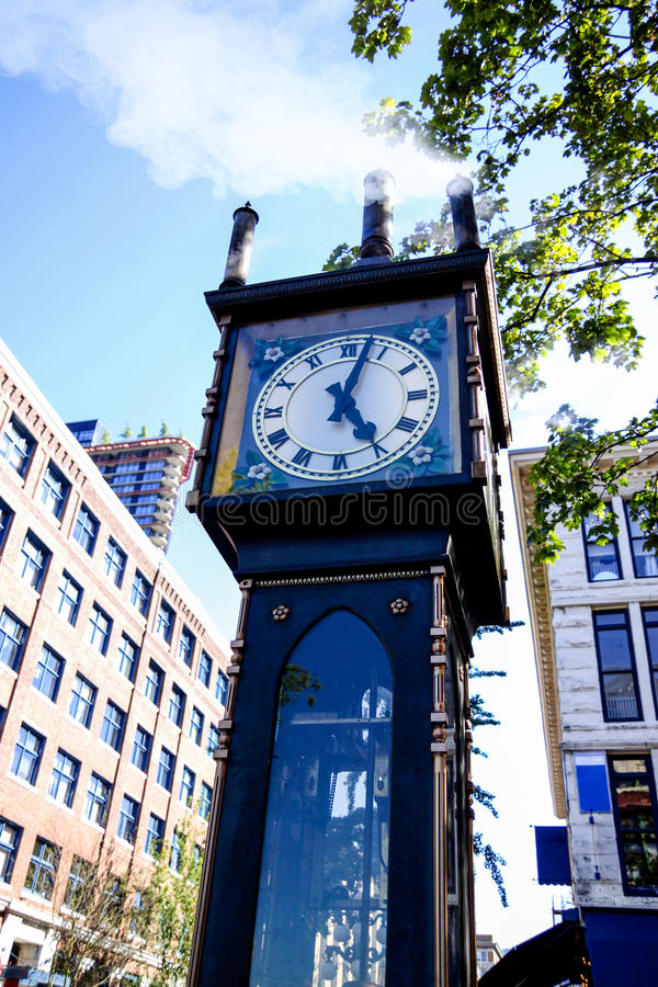 Gastown Steam Clock in Vancouver, Canada. Steam-powered clock at Gastown, a national historic site located in Vancouver, British Columbia. Incorporating a steam stock photo