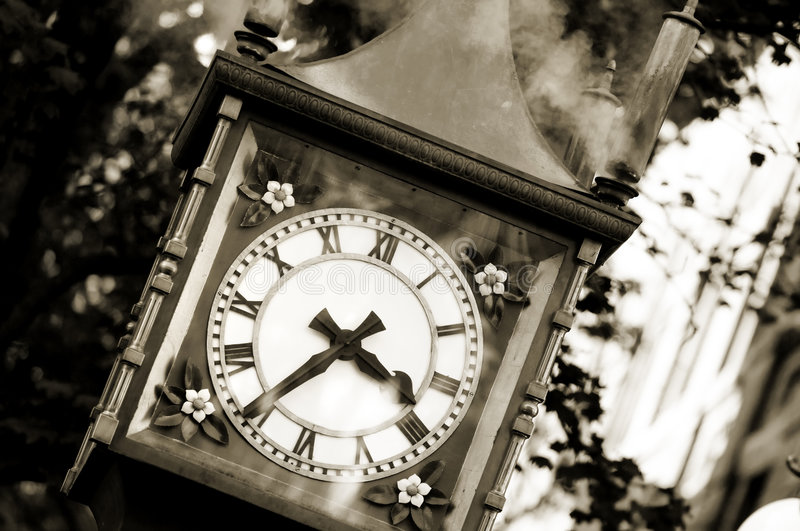 Gastown, Vancouver. Famous steam clock landmark in sepia in Gastown stock photo