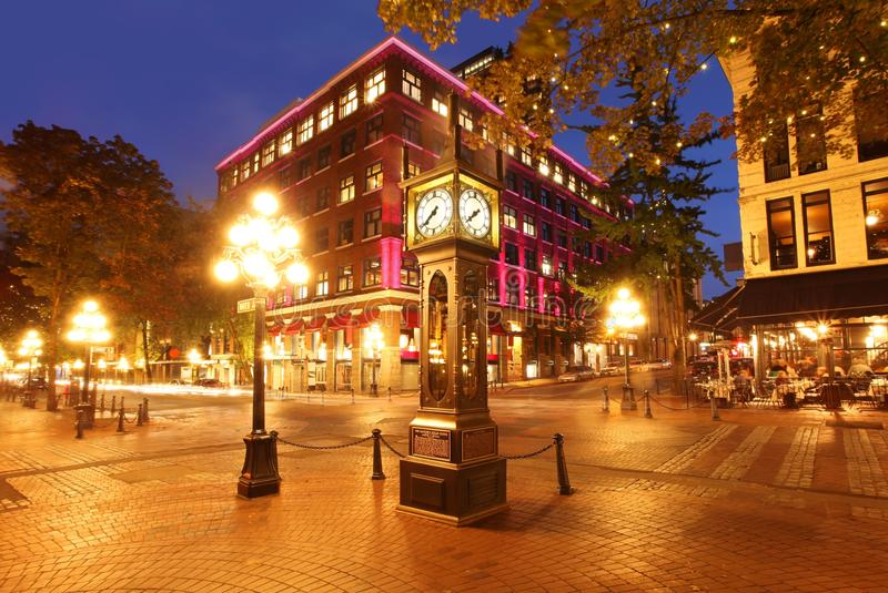 Gastown in Vancouver, Canada. The historic steam clock in Gastown in Vancouver BC royalty free stock image