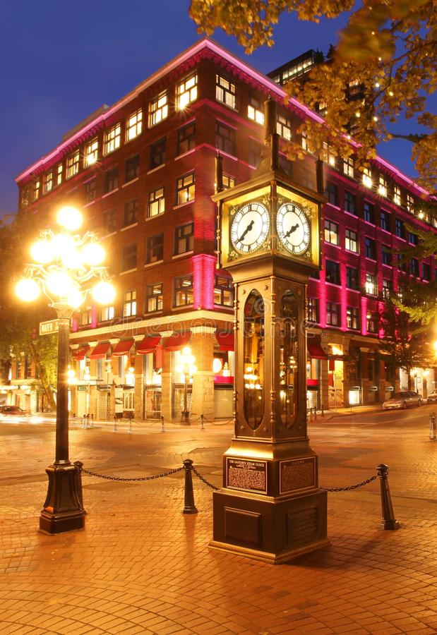 Gastown in Vancouver, Canada. The historic steam clock in Gastown in Vancouver BC royalty free stock photo