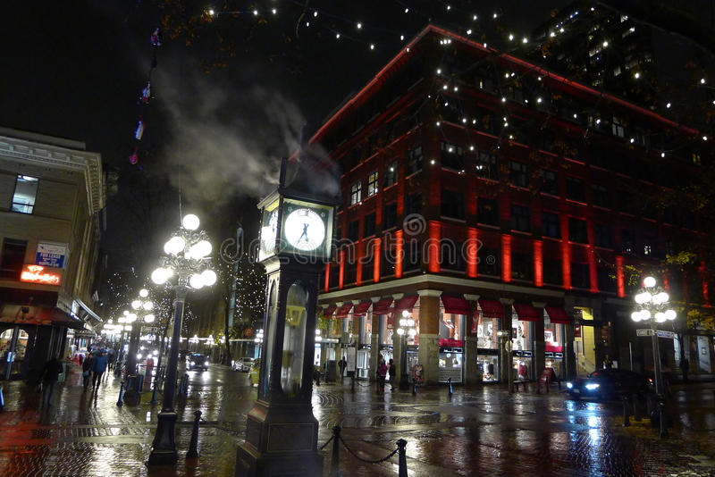 Gastown in Vancouver, Canada. The historic steam clock in Gastown in Vancouver, BC, Canada stock photography