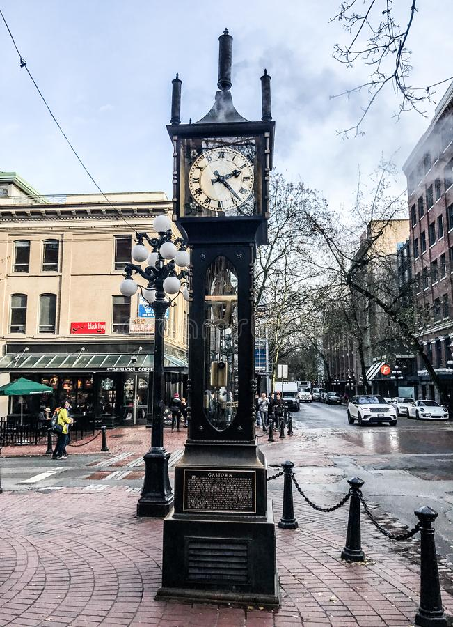Gastown Vancouver Steam Clock. Famous Gastown Vancouver Steam Clock royalty free stock photography