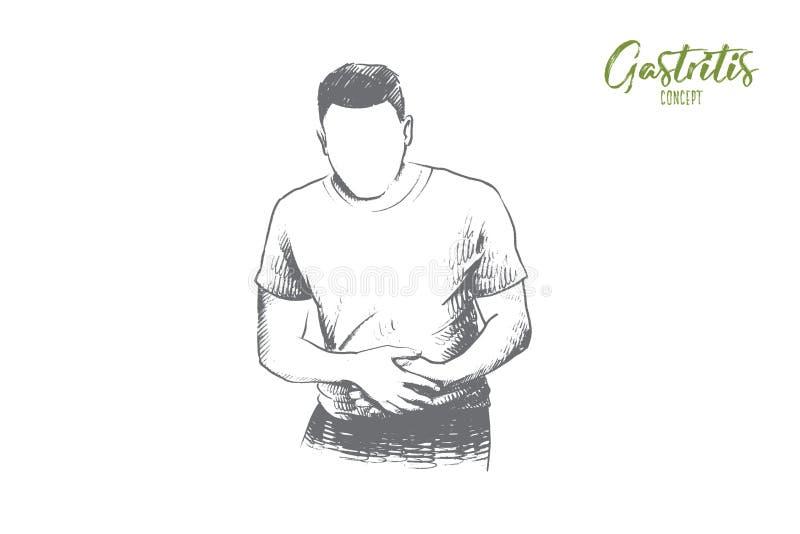 Gastritis pojęcie Ręka rysujący odosobniony wektor royalty ilustracja