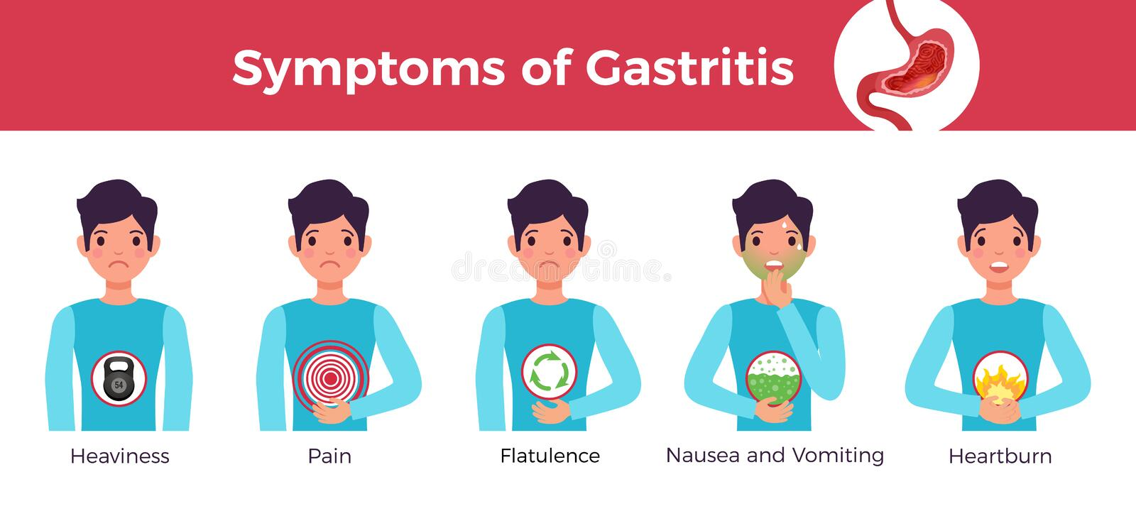 Gastritis Symptoms Infographic Banner stock illustration