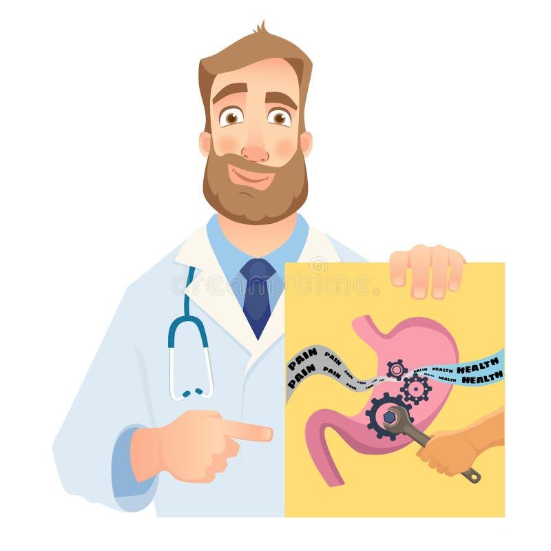 Gastroenterologista que guarda a bandeira ilustração stock