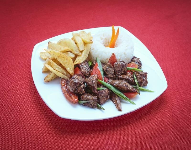 Gastronomiaperuana van Lomosaltado stock foto's