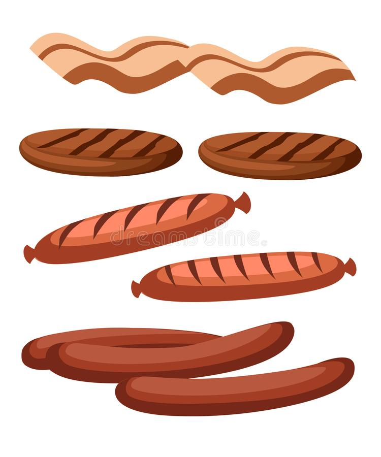 Gastronomic meat products in cartoon style. Vector icons steak , barbecue, lamb, chops, bacon, chorizo, sausage, chicken wings, ch stock illustration