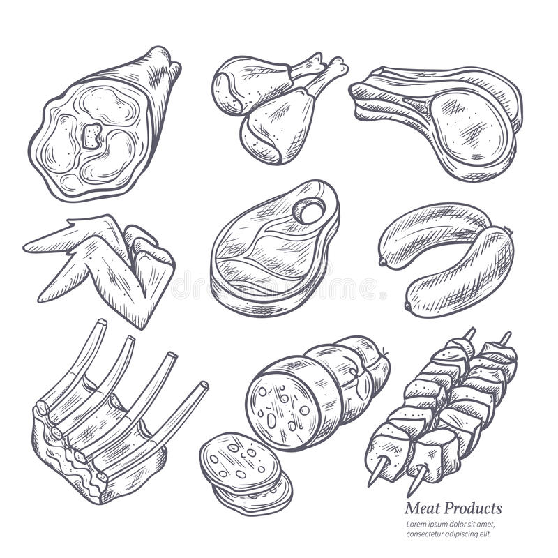Gastronomiczni Mięsnych produktów nakreślenia ilustracji