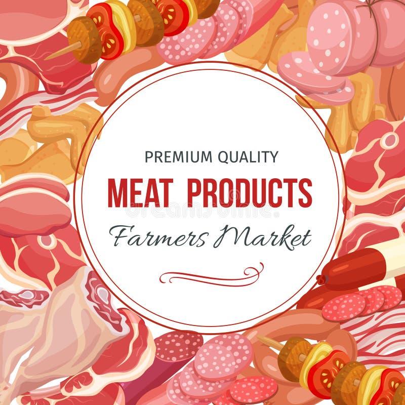 Gastronomiczny mięsnych produktów menu projekt ilustracja wektor