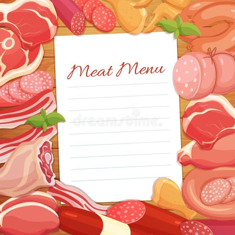 Gastronomiczny mięsnych produktów menu projekt ilustracji