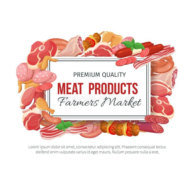 Gastronomiczny mięsnych produktów sztandaru menu projekt royalty ilustracja