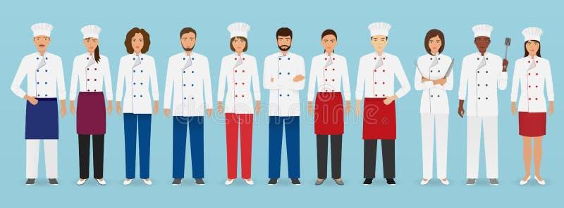 Gastronomii zajęcia drużyny pozycja w mundurze Grupa cateringów charaktery szef kuchni, kucharz, kelnery i barman, ilustracja wektor