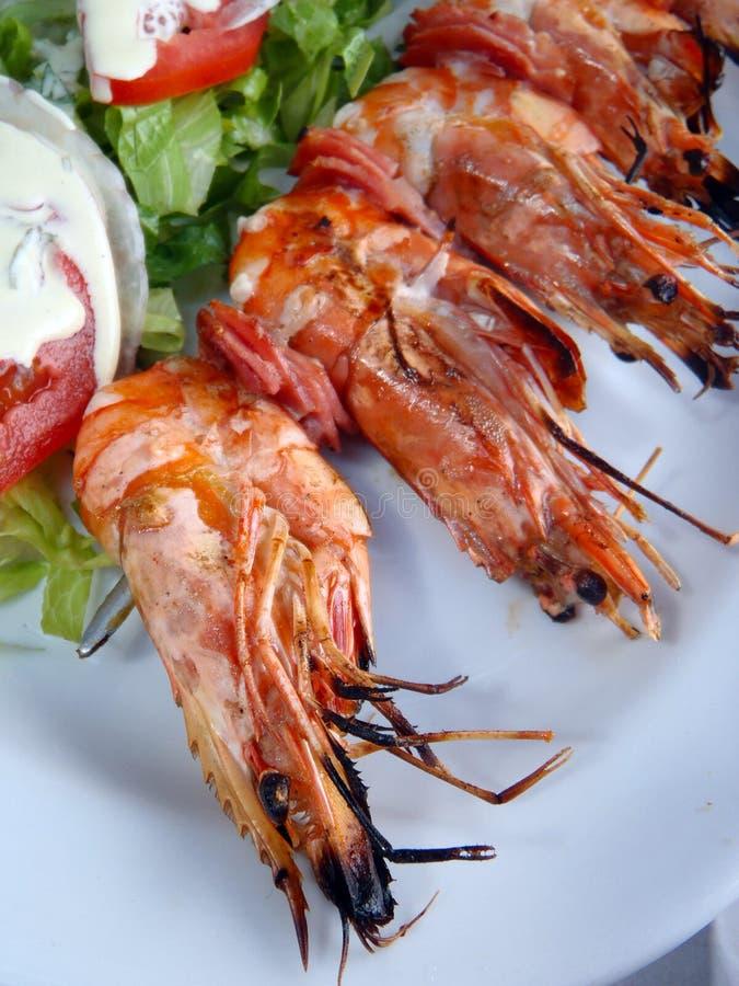 Gastronomisch Grieks voedsel, garnalen kebab stock afbeelding