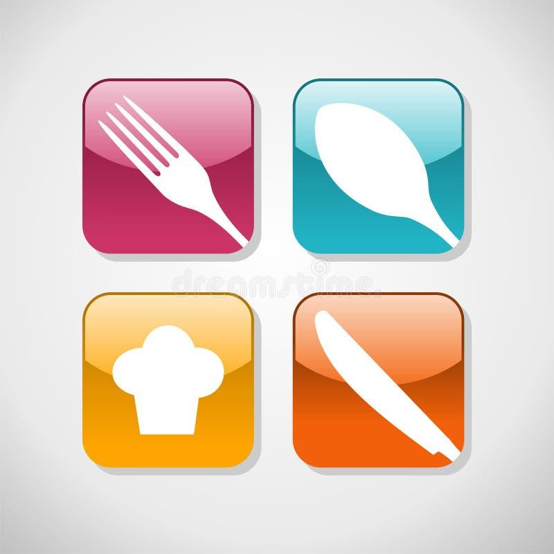 Gastronomische glanzende pictogrammen geplaatst achtergrond stock illustratie