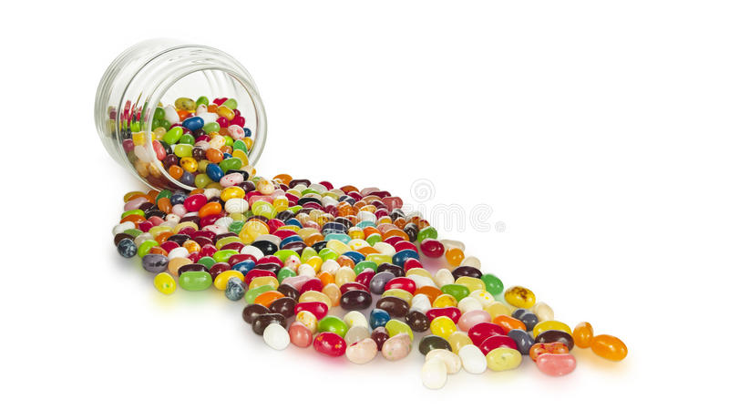 Gastronomische Jelly Beans Spilling Out stock foto's