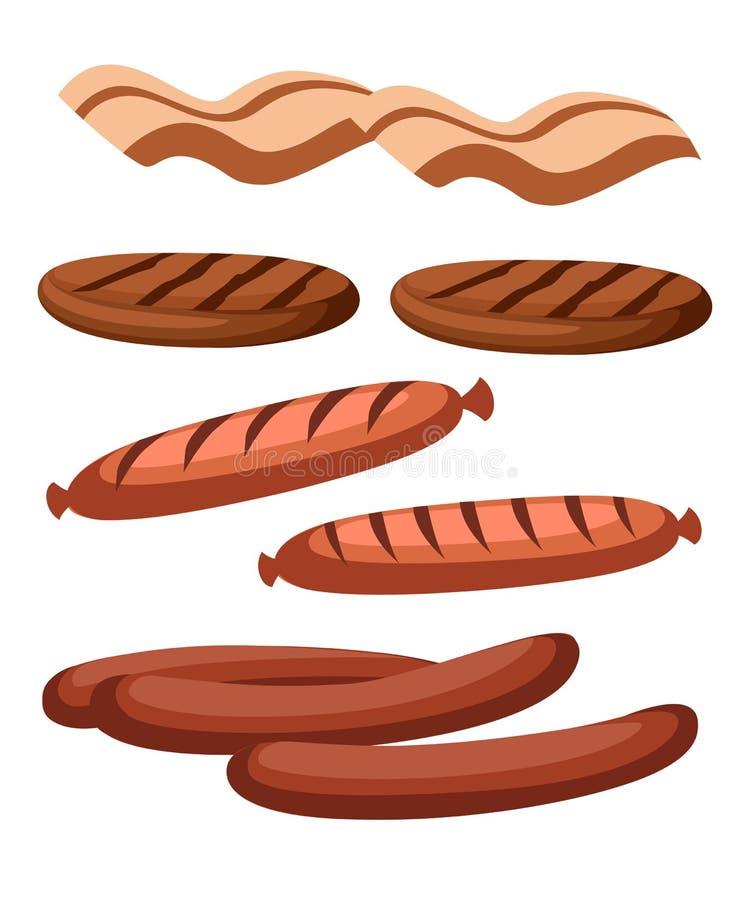 Gastronomiska köttprodukter i tecknad filmstil Vektorsymbolsbiff, grillfest, lamm, kotletter, bacon, chorizo, korv, fega vingar,  stock illustrationer